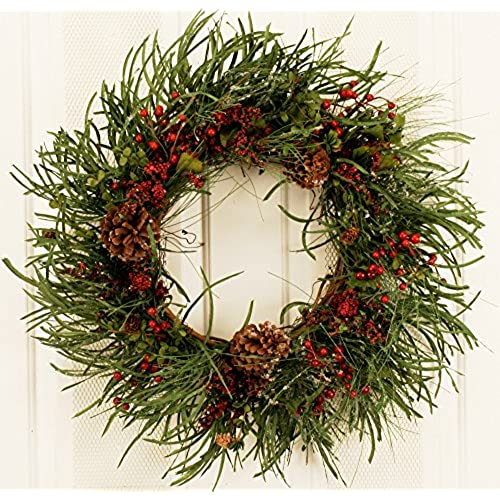 evergreen red berry silk winter christmas front door wreath 22 inches with faux pine cones decorated xmas artificial wreath for outdoor holiday display