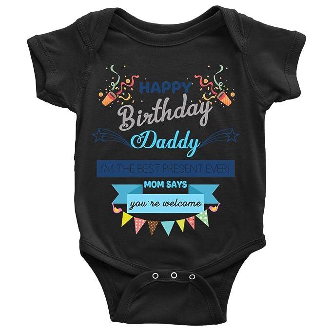 NagaStore Cute Happy Birthday Daddy Baby Bodysuit Newborn Infant Funny Gift