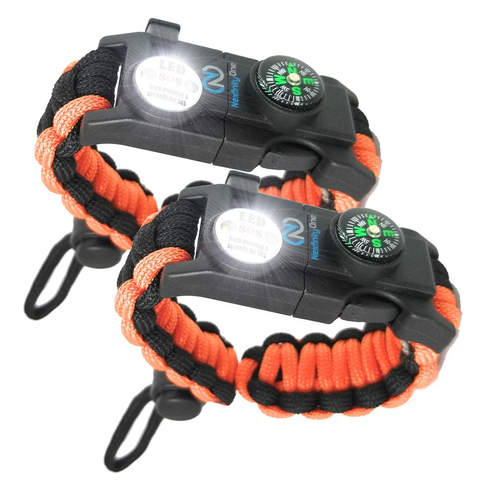 Nexfinity One Survival Paracord Bracelet - Tactical Emergency Gear Kit with SOS LED Light, Knife, 550 Grade, Adjustable, Multitools, Firestarter, Compass, and Whistle - Set of 2 Orange