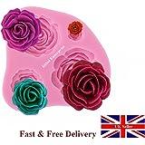 Ewin24 4 Superficie Roses fiore del silicone Muffa della torta di cioccolato fondente Sugarcraft che decora Fimo Strumento regalo