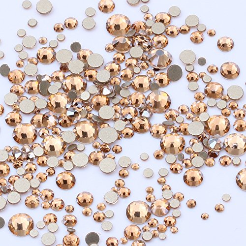 Gold Champagne SS3-SS20 And Mix Sizes Super Glitter Non Hotfix Flatback Glass Gold Foiled Rhinestones DIY 3D Nail Art Stones Decoration gems Stickers (Mix ss3-ss10 1680pcs)
