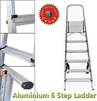 Escalera de 6 peldaños de aluminio ligero con capacidad de 150 kg para la escuela, el hogar, la oficina: Amazon.es: Bricolaje y herramientas