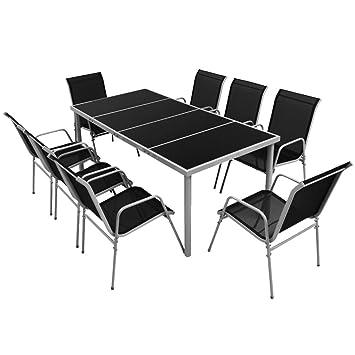 Festnight Conjunto de Mesa y Sillas Apilables de Jardin Muebles de Comedor 9 Piezas Negro