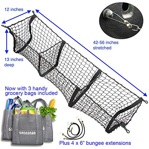 Hang Outs Premium Three Pocket Mesh Storage Net - Black Mesh Three Pocket Trunk Cargo Organizer - fits larger trucks with bungee cords - now with 3 reusable grocery bags ()