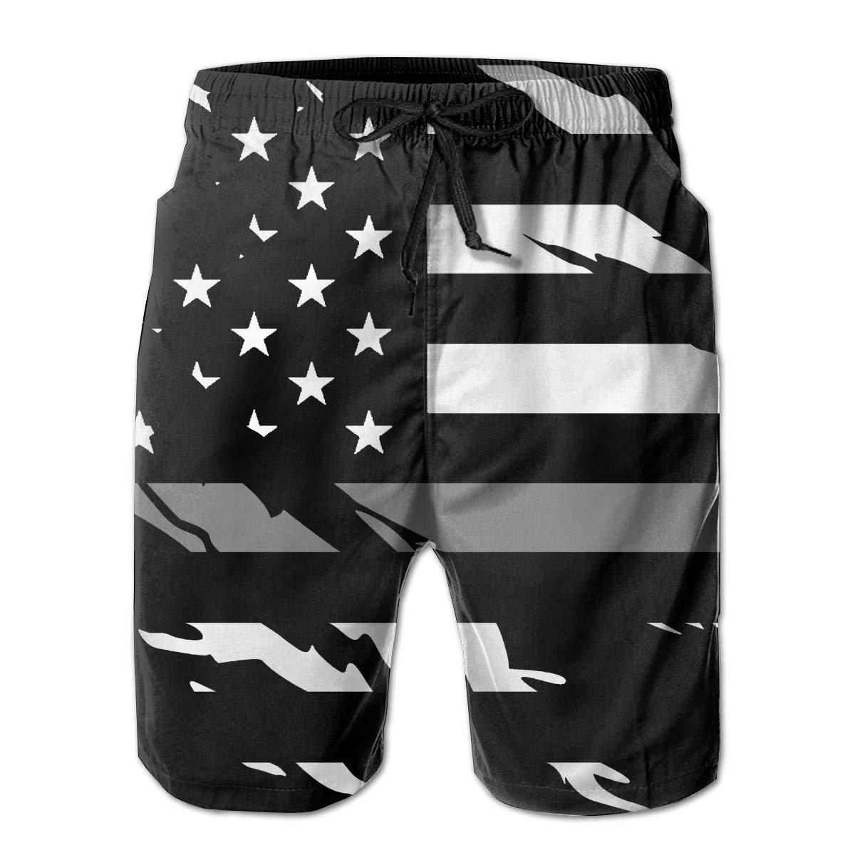 STLYESHORTS Ripped Thin Silver Line American Flag for Men Board Shorts Swim Trunks Beachwear Workout Beach Shorts