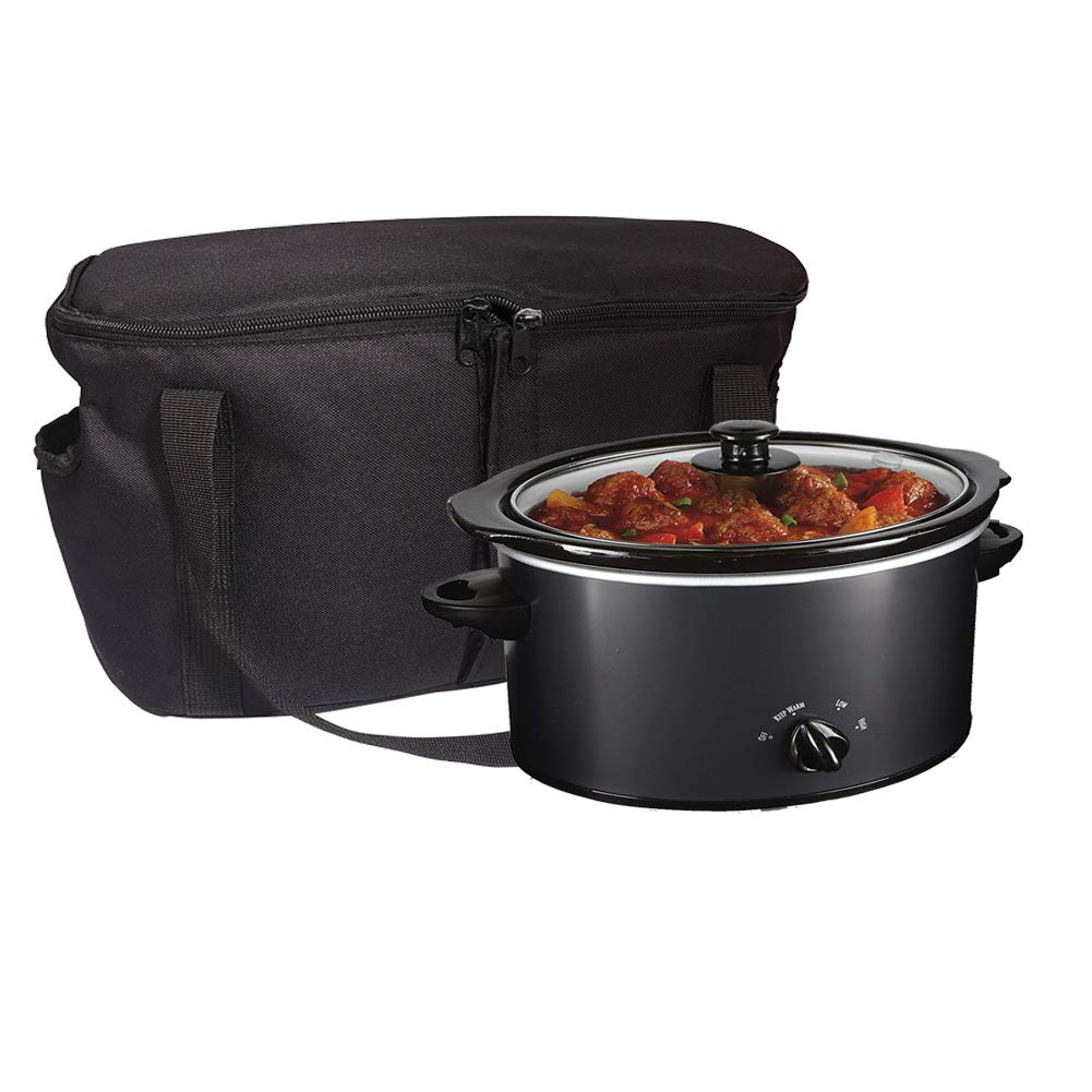 """Slow Cooker Bag, Round-Shaped Insulated Carrier Bags Compatible with 4, 5, 6, 7 & 8 Quart Crockpot, Black Thermal Tote Bag with Handle Openings for Rice & Pressure Cookers (S: 9.4""""x7.5""""x8.6"""")"""