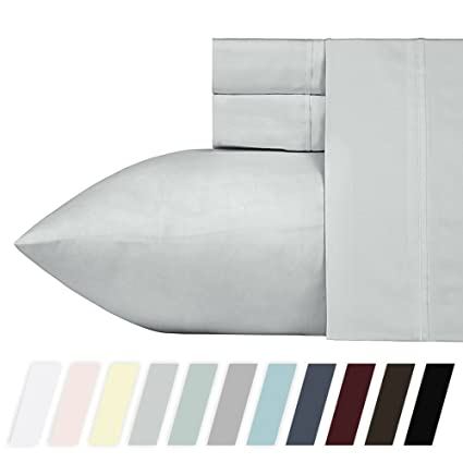 Superieur 400 Thread Count 100% Cotton Sheet Set, Light Grey Queen Sheets, 4