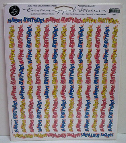 Gifted Line Stickers - Birthday Border Victorian Scrapbook Stickers 1 Sheet By John Grossman