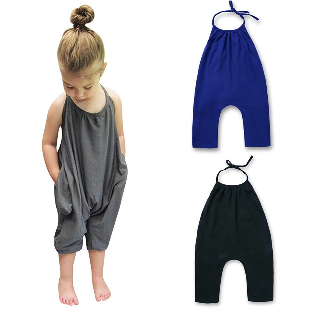 Blue LUOEM Romper Clothes Strap Romper Jumpsuit Pants Trousers for Baby Girls 100cm