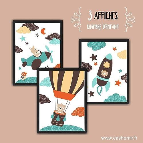 Affiche Enfant, Décoration Chambre Bébé Garçon, Illustration Chambre Enfant,  Avion Fusée Montgolfière Orange