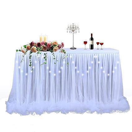 Amazon Com Led Table Skirt 9ft White Tulle Table Skirt Tutu Table