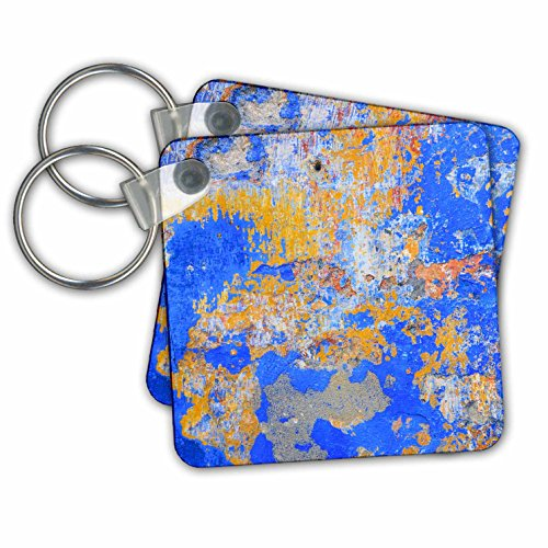 Danita Delimont - Abstracts - Detail of a painted retaining wall, Obidos, Portugal - Key Chains - set of 4 Key Chains - Abstract Painted Wall