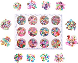 12 Bottles/Pack Flower Animal Fruit Resin Filling Glitter Soft Clay for DIY Epoxy Resin Mold Decor Nail Art Jewelry Making Tools (Mixed)