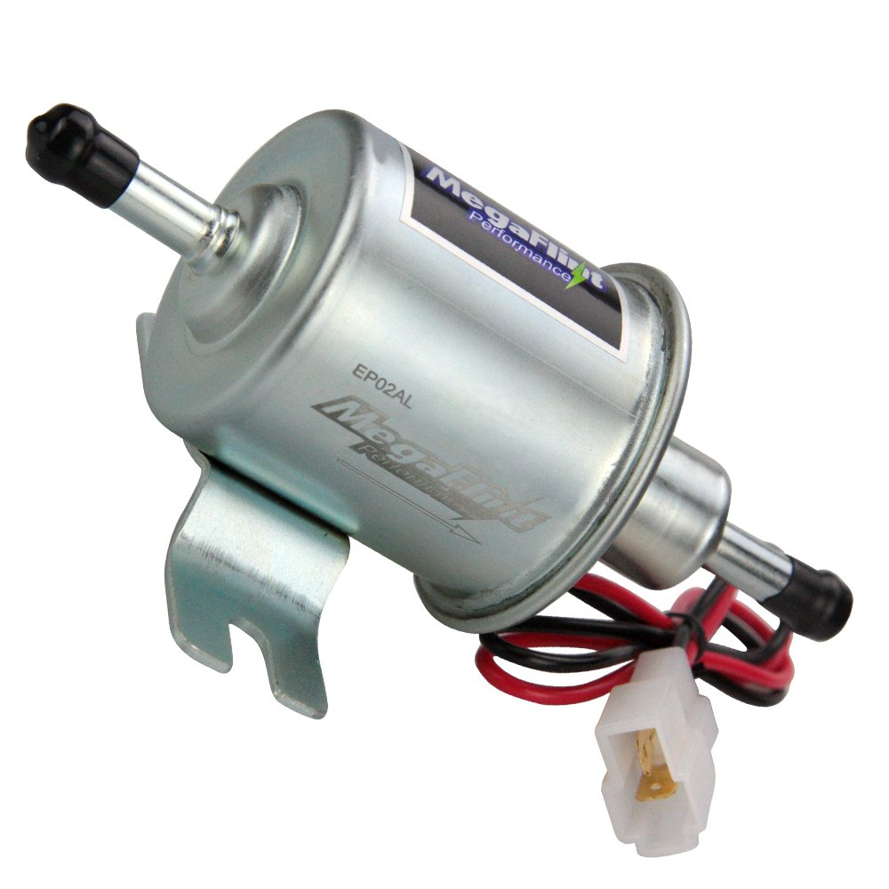 Upgrade 15/% More Energy MegaFlint Universal Low Pressure Gas Diesel Inline Metal Solid Petrol 12V Heavy Duty Electric Fuel Pump for Motorcycle Carburetor ATV HEP-02A