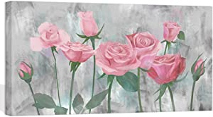 Visual Art Decor Flowers Wall Decor Retro Pink Blooming Rose on Grey Painting Picture Prints Canvas Wrap Floral Art Decal for Coffee Shop Dining Room Bedroom Wall Decoration