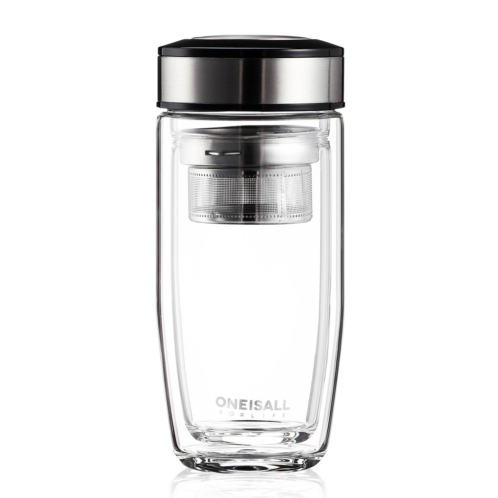 ONEISALL Tea Infuser Water Bottle Double Wall Glass Tea Tumbler with Strainer for Loose Leaf Hot Cold Drink, 380ML (Stainless Steel)