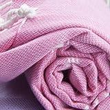 Essential Turkish Towel Peshtemal in 100% Cotton for Beach Bath Swimming Pool Yoga Pilates Picnic Blanket Scarf Wrap Hammam Fouta Turkish Bath Towels Beach Towel (Hot Pink)