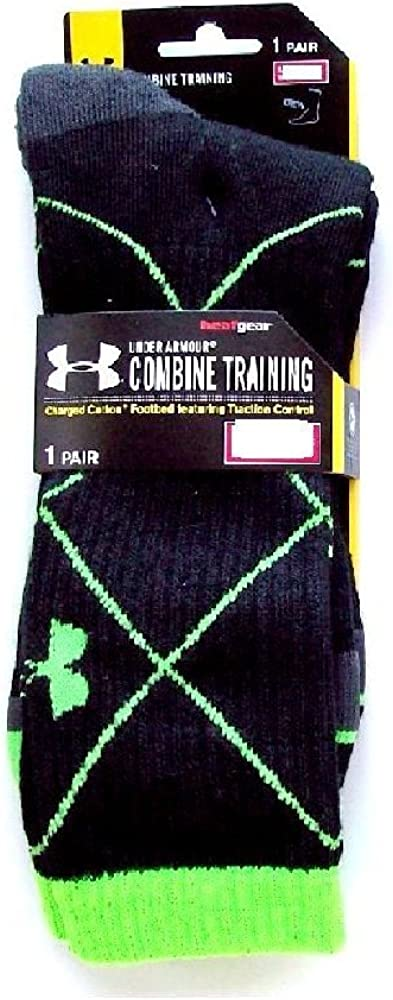 Under Armour Youth Boys Combine Training Crew Socks Large Black//Lime YLG