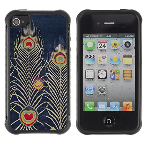 Apple Iphone 4 / 4S - Navy Bluer Feather Art Drawing