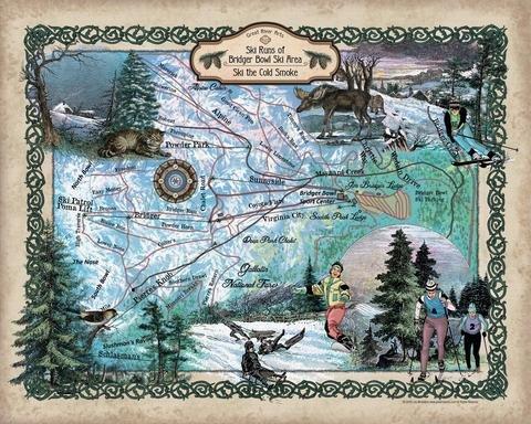 227-Ski Runs Bridger Bowl, Montana,vintage historic antique map poster print (Bridger Bowl)