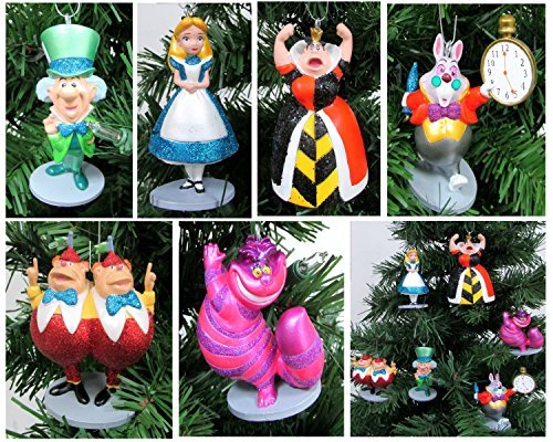 Alice in Wonderland 6 Piece Christmas Tree Ornament Set Featuring Alice, White Rabbit, Cheshire Cat, Queen of Hearts, Mad Hatter, and Tweedle Dum & Tweedle Dee - Shatterproof Design 3