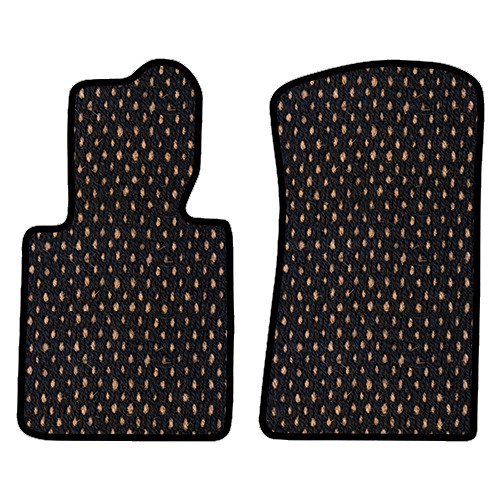 Set Cocoa Dots - Furstil Automotive-The Original Coco Mats-Custom Fit Floor Mats Hand-Made in USA for any Make/Model Vehicle Black Natural Dot-Front Set-Two Piece
