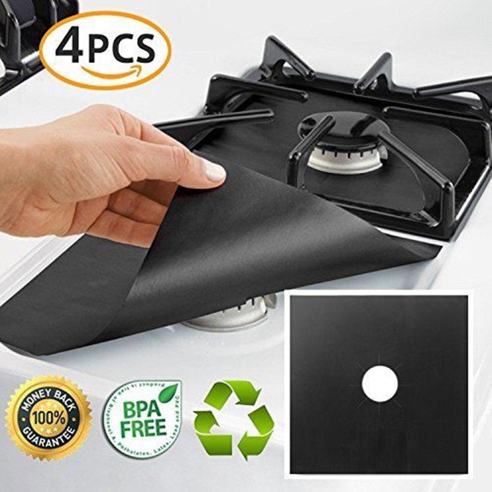 4PCS Gas Range Protector Reusable Aluminum Foil Gas Stove Burner Cover Protector Liner Clean Mat Pad 10.6'' x 10.6'' (0.2 mm Thick)(Black)