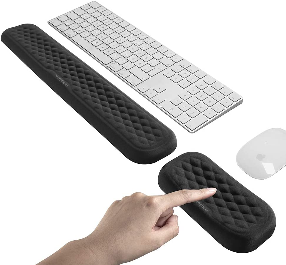 VAYDEER Keyboard and Mouse Wrist Rest Pad Set Padded Memory Foam Hand Rest Support for Office, Computer, Laptop, Mac Typing and Wrist Pain Relief and Repair(Large Set)
