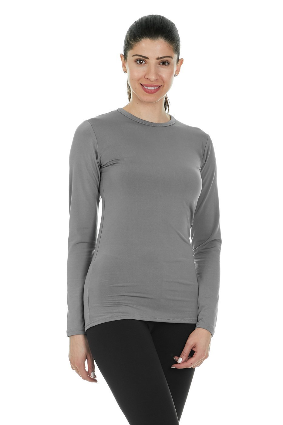 Thermajane Women's Ultra Soft Thermal Shirt - Compression Baselayer Crew Neck Top - Fleece Lined Long Sleeve Underwear T Shirt (Grey, Large) by Thermajane