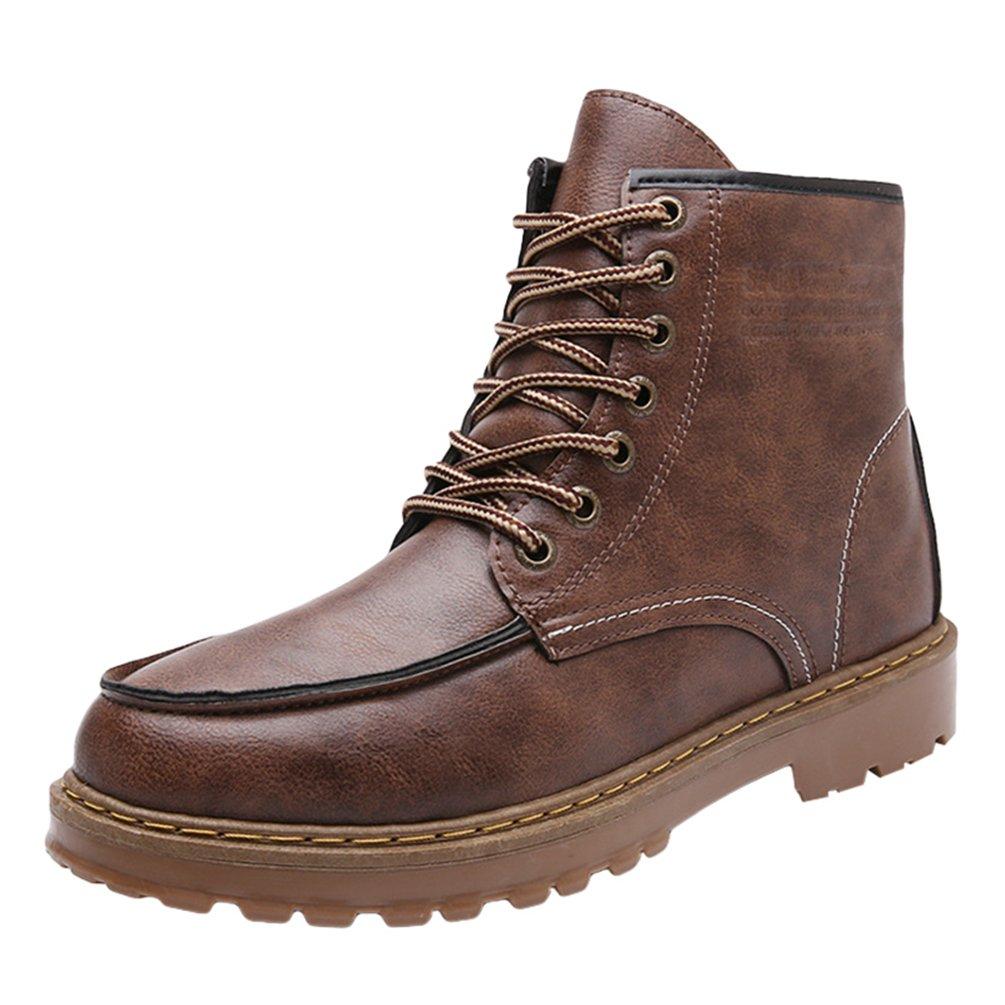 Anguang Herren Winter Ankle Boots Warm Winterschuhe Outdoor Schneestiefel Kurz Schnür Schuhe Schwarz 2
