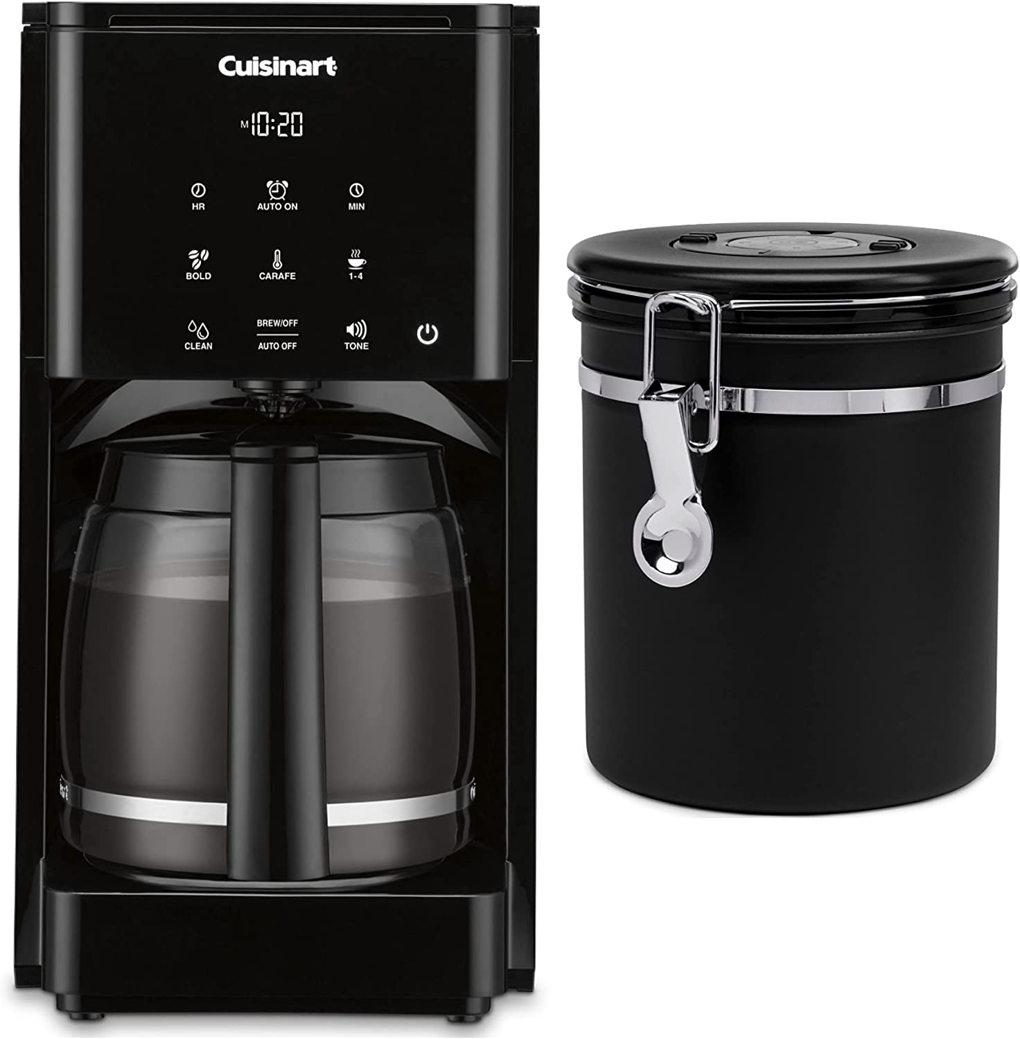 Cuisinart DCC-T20 14-Cup Touchscreen Programmable Coffeemaker Bundle with Stainless Steel Coffee Canister (2 Items)