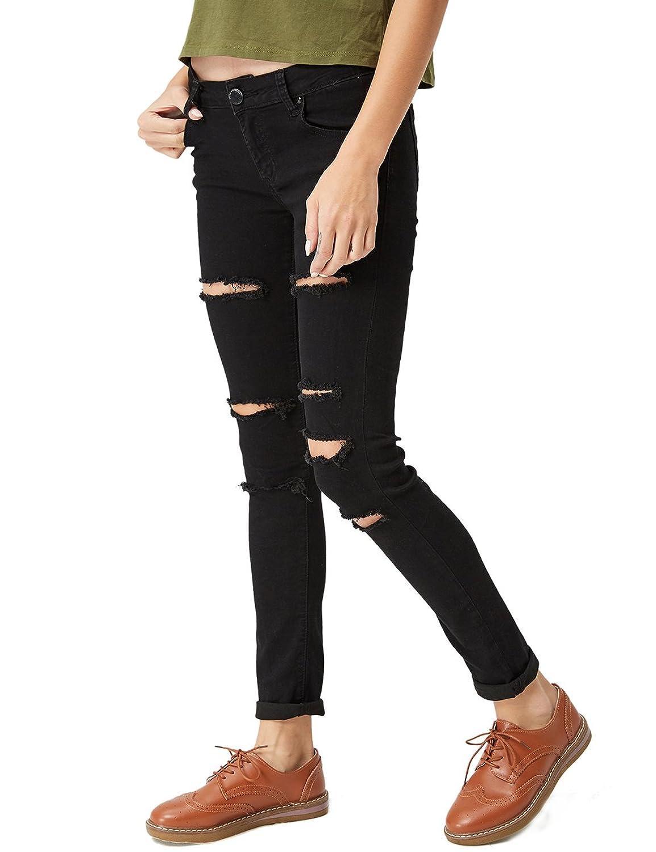 Glostory Women Skinny Ripped Jeans Distressed Five Pocket Stretch Denim Pants 2104/2105