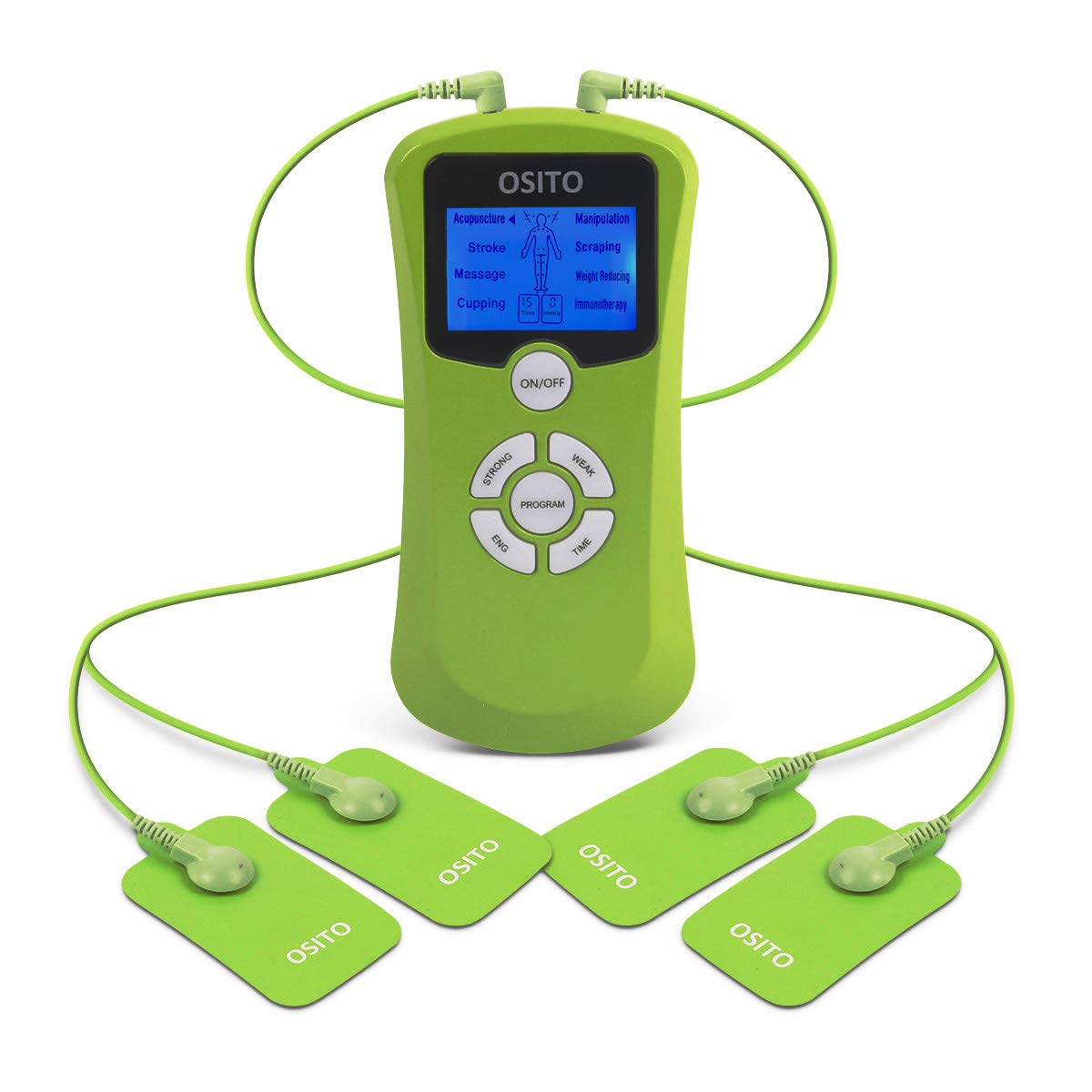 Dual Channel TENS Machine Muscle Stimulators with 9 Modes and 15 Levels and 4 Gel Pads for Pain Relief