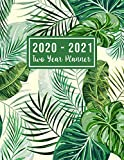 2020-2021 Two Year Planner: 2020-2021 see it bigger planner | Green Leaves Cover 24 Months Agenda Planner with Holiday from Jan 2020 - Dec 2021 Large ... for Mom