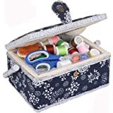 Large Sewing Box with Accessories Sewing Storage and Organizer with Complete Sewing Kit Tools, Navy