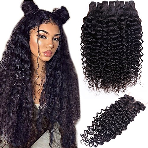 10A Brazilian Hair 3 Bundles with Closure Water Wave (20 22 24+Closure 18, Middle Part) Remy Wet and Wavy Hair Weave Bundles with 4x4 Lace Closure Resaca Unprocessed Virgin Human Hair