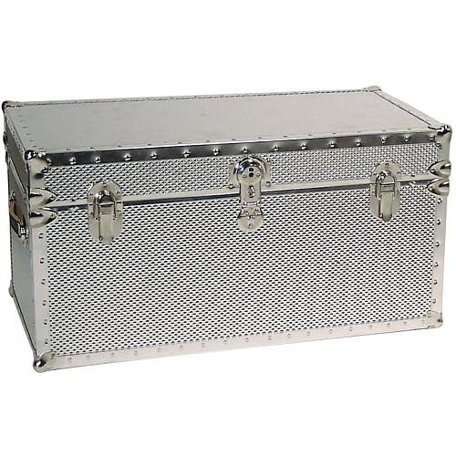 Seward Trunk Embossed Steel Storage Footlocker Trunk, Silver, 31-inch (SWD5934-41) ()