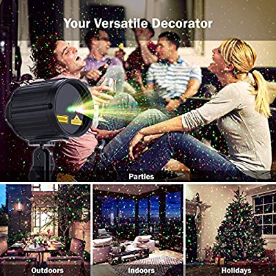 Laser Lights LED Projector, 2017 New Star Laser Show Green and Red Light, Outdoor Waterproof Landscape Spotlight with RF Remote Controller for Xmas, Parties, Garden Decoration, Black