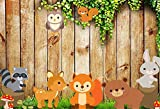MEHOFOTO Photography Backdrops Wood Floor Green Leaves Cartoon Animals Children Party Photo Studio Booth Background 7X5ft