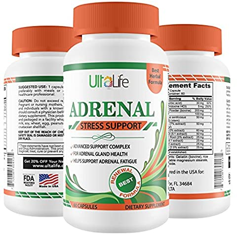 ADRENAL FATIGUE Making You Feel Tired, Run Down & in a Fog? UltaLife Adrenal Support Supplement to manage Cortisol Stress Hormones, Boost Energy & Help You Feel Good - Natural Formula for Men & - Adrenal Boost
