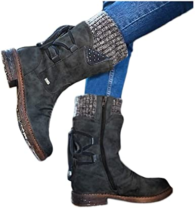 Middle Block Heel Knight Ankle Booties Womens Round Toe Short Boots with Zipper Fashion Combat Lace Up