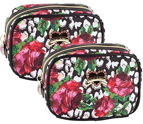 Betsey Johnson Roses Over Cheetah Cub Cosmetic Case - Multi 2 ()
