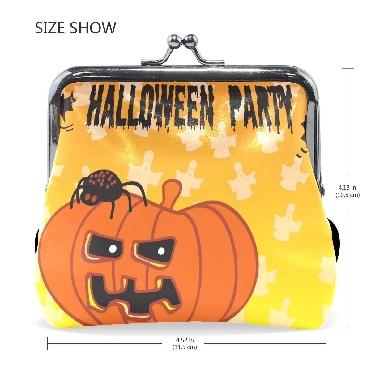 LALATOP Halloween Pumpkin Ghost Womens Coin Pouch Purse wallet Card Holder Clutch Handbag