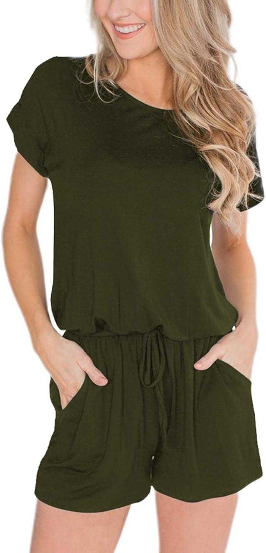 DressU Womens Classics Plaid Elastic Bottom Straps Jumpsuit Playsuit