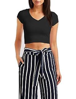 c5ac09ddcb3af GUBUYI Women s Basic Short Sleeve Crop Top Casual Solid Slim Fit Crop T- Shirt