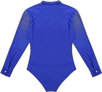 YOOJIA Hombre Camisa de Danza Latina Tango Body Baile Manga Larga Escote Cuello en V con Diamantes Brillante Traje de Bailarina Actuación Azul Real Medium: Amazon.es: Ropa y accesorios