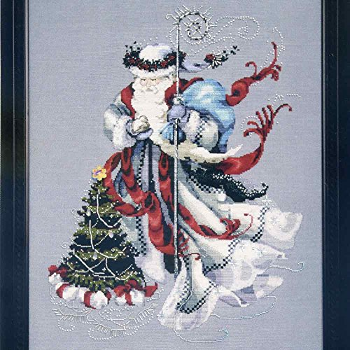Nora Mill - Mirabilia Winter White Santa LINEN Kit Beaded Counted Cross Stitch by Nora Corbett Designs MD135 (Bundle: Chart, Fabric, Beads, Kreinik Braid, Caron Silk Floss)