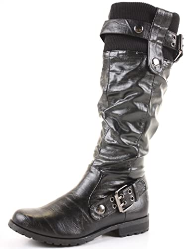 Womens Flat Biker Boots Ladies Wide Calf Boots with ...