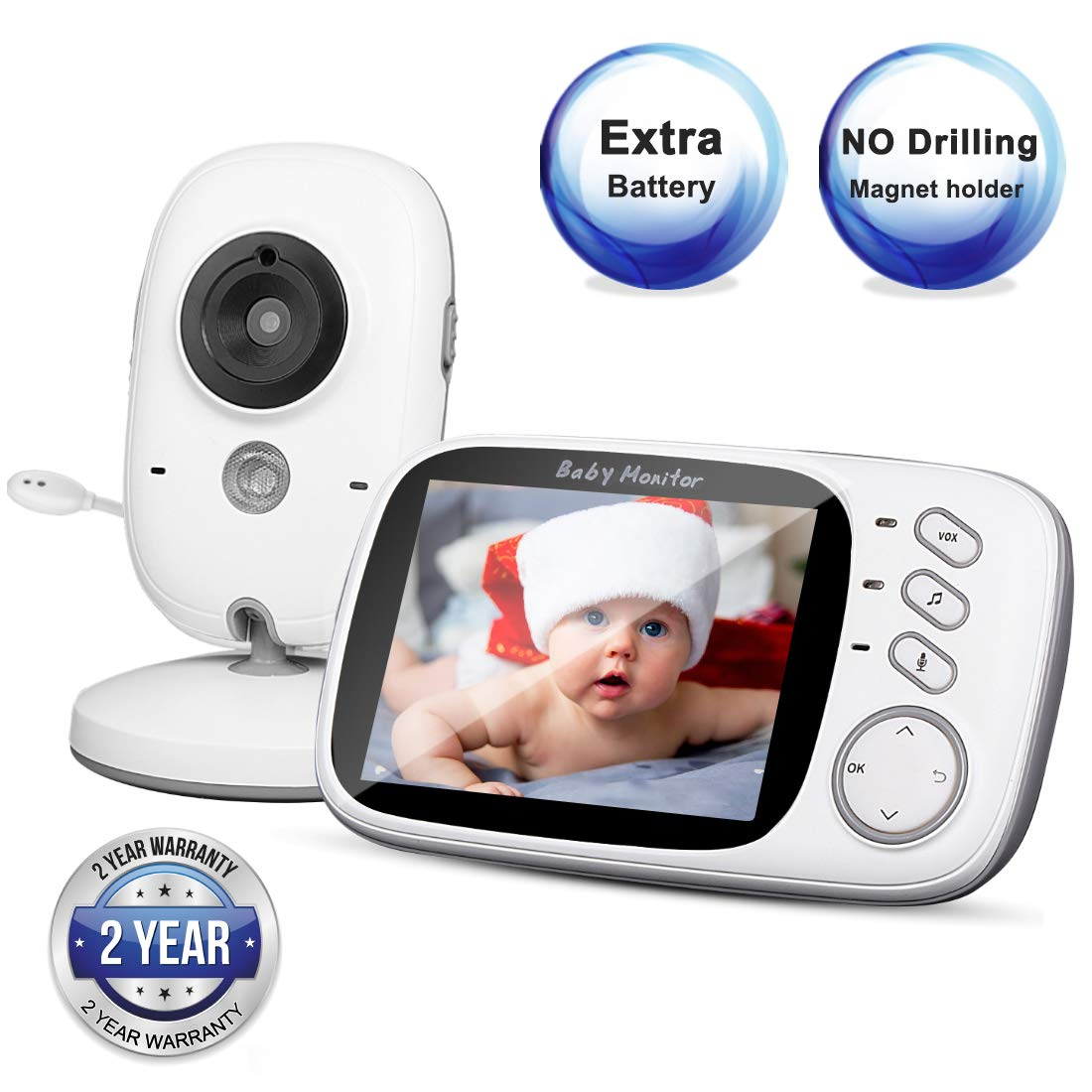 Video Baby Monitor with Camera and Audio, 3.2 LCD Large Screen, Temperature Monitor with Night Vision, Two-Way Talk, VOX, No Drilling Magnet Holder, 2 PCs Battery, for Elderly Pet Baby Nanny