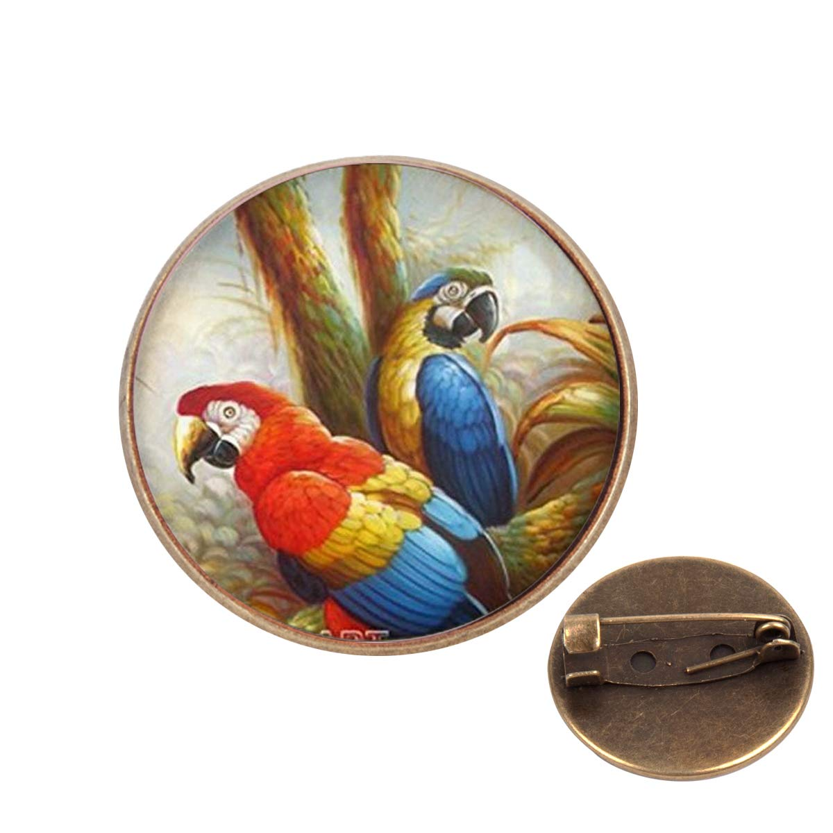 Pinback Buttons Badges Pins Parrot Bird Animal Lover Lapel Pin Brooch Clip Trendy Accessory Jacket T-Shirt Bag Hat Shoe